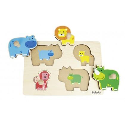 Knob puzzles - mom & baby   Beleduc