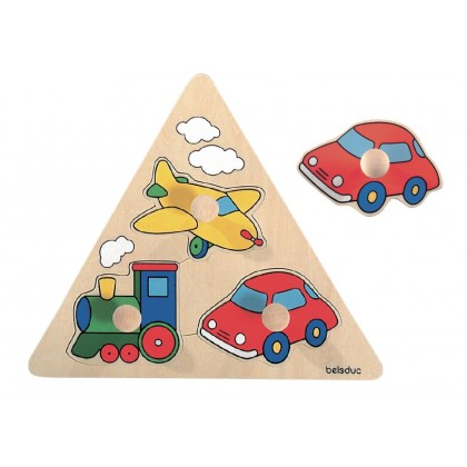 Triangle knob puzzle - vehicles | Beleduc